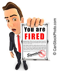 3d businessman dismissal notice