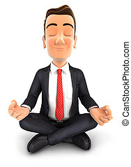 3d businessman doing yoga, isolated white background