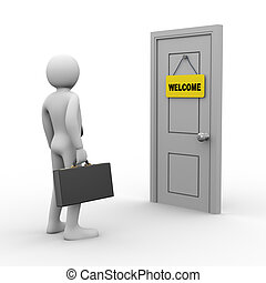 3d businessman door welcome