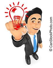 3D Businessman drawing a light bulb. Idea concept