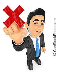 3D Businessman drawing a red cross