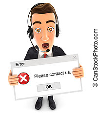 3d businessman error message
