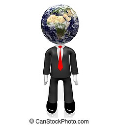 3D businessman, Europe and Africa