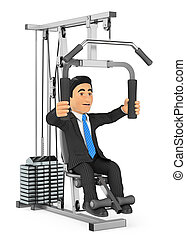 3D Businessman exercising in a weight machine