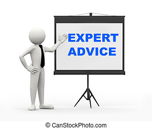 3d rendering of business person with tripod projector screen presenting concept of Expert Advice. 3d white people man character