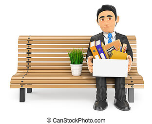 3D Businessman fired sitting on a bench with his stuff