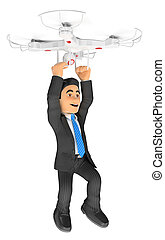 3D Businessman flying hanging from a drone