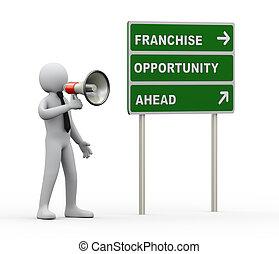 3d businessman franchise opportunity megaphone announcement