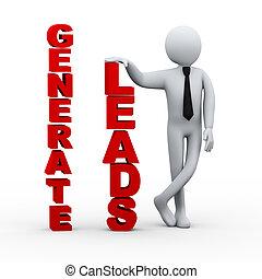 3d businessman generate leads presentation