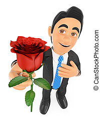 3D Businessman giving a red rose with hand on heart. Love concept