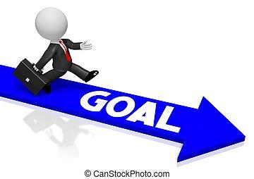 3D businessman/ goal concept
