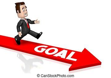 3D businessman - goal concept