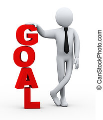 3d businessman goal word presentation