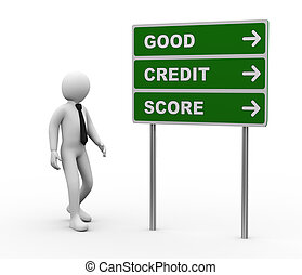 3d businessman good credit score roadsign