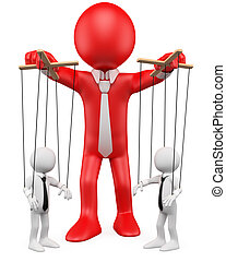 3D businessman handling their employees like marionettes
