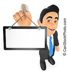 3D Businessman hanging a blank poster