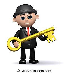 3d Businessman has the gold key