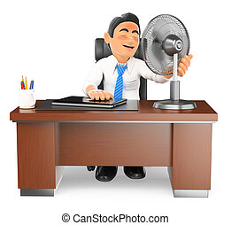 3D Businessman heated in his office with a fan