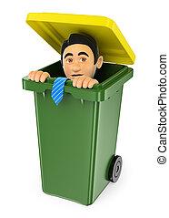 3D Businessman hiding in a trash bin