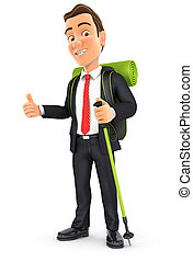 3d businessman hiking with thump up