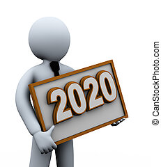 3d businessman holding 2020 board