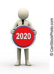 3d  businessman holding 2020 button