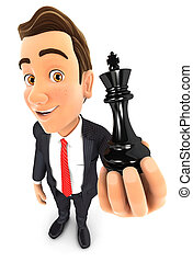 3d businessman holding a chess king