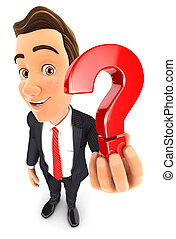 3d businessman holding a question mark icon, illustration...