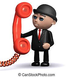 3d Businessman holding a telephone handset