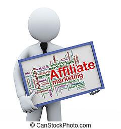3d businessman holding affiliate wordcloud