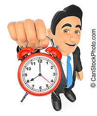 3D Businessman holding an alarm clock