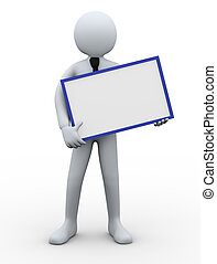 3d businessman holding blank board
