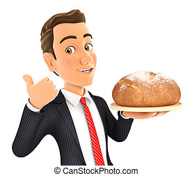 3d businessman holding bread with thumb up