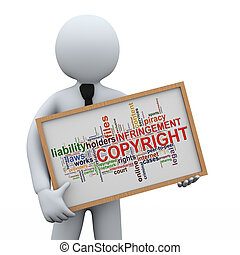 3d businessman holding copyright wordcloud