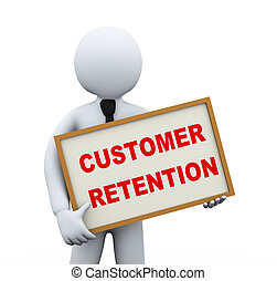 3d businessman holding customer retention board