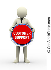 3d  businessman holding customer support us button