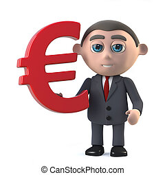 3d Businessman holding Euro currency symbol