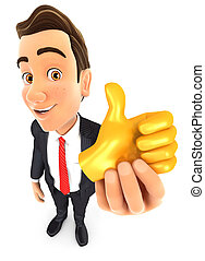3d businessman holding golden thumb up icon