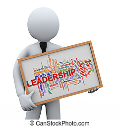 3d businessman holding leadership wordcloud