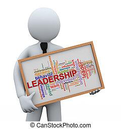 3d businessman holding leadership wordcloud - 3d...
