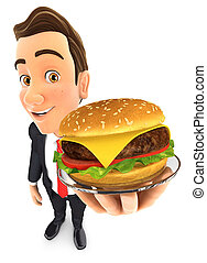 3d businessman holding plate with hamburger
