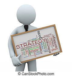 3d businessman holding strategy wordcloud