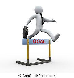 3d businessman hurdle jump - goal