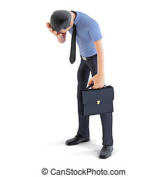 3d Businessman in depression with hand on forehead. solated. Containsclipping path