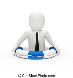 3d businessman in lifebelt - 3d businessman with tie in...