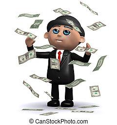 3d Businessman in windfall of US Dollar bills - 3d render of...