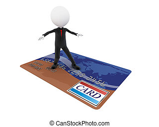 3D Businessman is surfing on a credit card and goes shopping