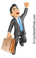 3D Businessman jumping for joy. Success