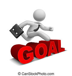 3d businessman jumping over 'goal' word