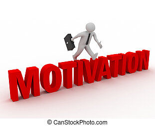 3d businessman jumping over 'motivation' word with white background